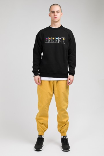 Firm Crew-neck Sea Signs Font Black