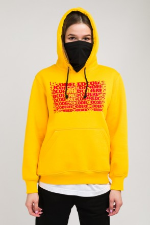 Girl Hoodie Cropped Warm Yellow