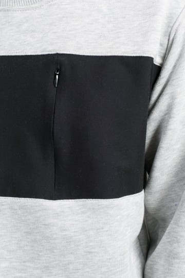 Крюнек Block Summer Серый Меланж/Черный