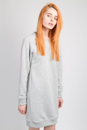 Clean Dress Summer Crew-neck Gray Melange