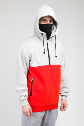 The Mask Combo Hoodie Warm Gray Melange/Scarlet