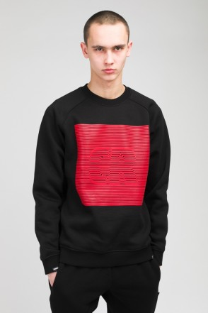Firm Crew-neck CR Volume Stripes Black/Red