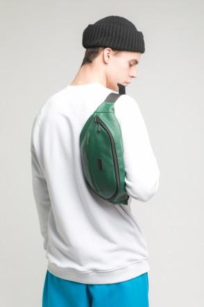 Сумка поясная Hip Bag Large Зеленый Темный иск. Кожа