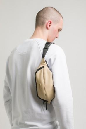 Сумка поясная Hip Bag Бежевая иск. Кожа
