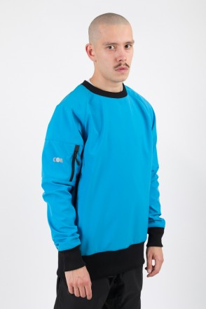 Firm 2 Windbreaker/Crew-neck Azure/Orange Hood