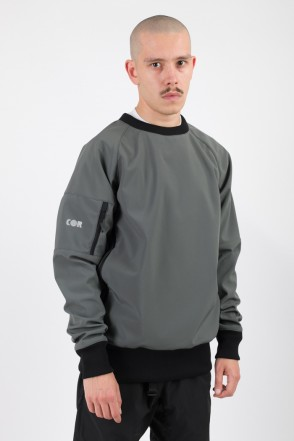 Firm 2 Windbreaker/Crew-neck Dark Gray/Orange Hood