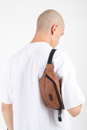 Hip Bag Brown Snake Art. Leather