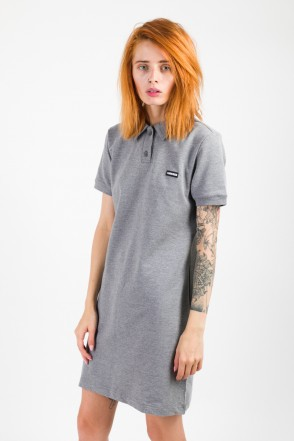 Adress Polo Dress Dark Gray Melange