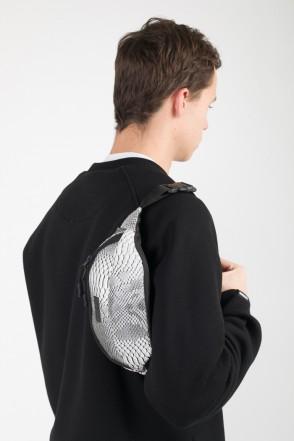 Сумка поясная Hip Bag Серо-белый иск. Кожа Змея