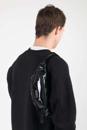 Сумка поясная Hip Bag Черный Блестящий иск. Кожа