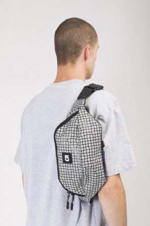 Сумка поясная Hip Bag Large Пепельный Таслан/Паттерн Bent Grid Черный