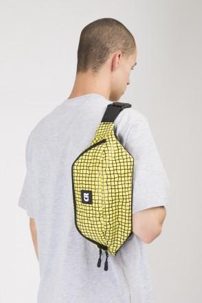 Сумка поясная Hip Bag Large Желтый Яркий Таслан/Паттерн Bent Grid Черный