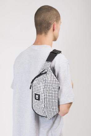Сумка поясная Hip Bag Large Белый Таслан/Паттерн Bent Grid Черный