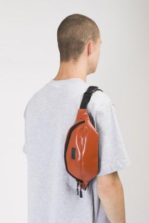 Сумка поясная Hip Bag Коричневый Кожзам Блестящий