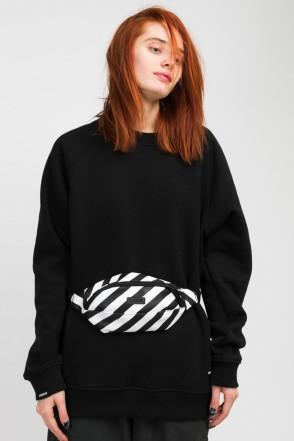 Hip Bag Black & White Art. Leather Stripes