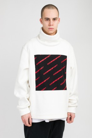Highneck Fleece White/Black