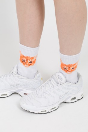 Cat Socks White/Black Logo