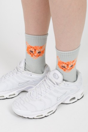 Cat Socks Gray Melgange/White Logo