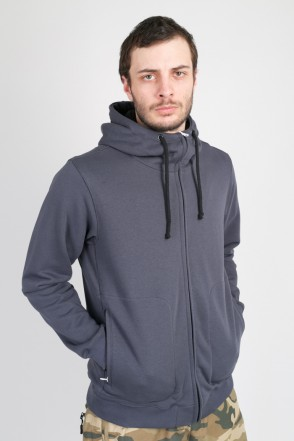 Mask Zip Summer Hoodie Dark Gray